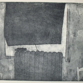 James Juthstrom [1925-2007] Untitled [Interior] , circa 1950s etching on paper, paper size > 13.5 x 17.75 inches