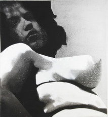 Boris Lurie (1924-2008) Altered Photo: Pinup (Body), c.1963  photo emulsion and acrylic paint on canvas  46 x 50 inches