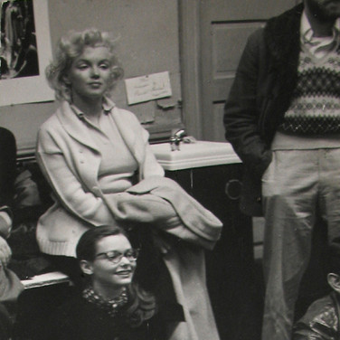 Roy Schatt [1909-2002] Marilyn Monroe at the Actor's Studio with Susan Strasberg circa 1965  vintage gelatin silver print mounted on ragboard, signed, stamped paper size >  12.5 x 7.5 inches © Estate of Roy Schatt