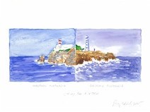 Watercolor and pencil drawing of two lighthouses in East and West Australia as if they were connected