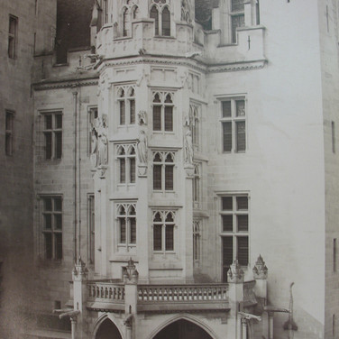 Séraphin-Médéric Mieusement (1840- 1905)  Château de Pierrefonds, Main Staircase, circa 1880s   albumen print mounted on bookboard, inscribed, stamped  17 x 10.5 inches