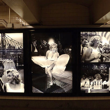 Sam Shaw (1912-1999)  Marilyn Monroe in New York  Installation view, 42 St-Bryant Park MTA Arts for Transit and Urban Design