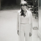Singer and actress Françoise Hardy wearing Chanel, at the House of Chanel  photograph circa 1962-1969 (printed later)  gelatin silver print, AP, signed  image size > 14.5 x 9 inches  Photograph by Hatami (1928-2017)