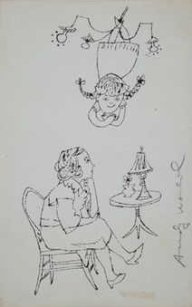Untitled (Mother and Daughter), circa 1950s ink on paper, signed 11.75 x 7.375 inches