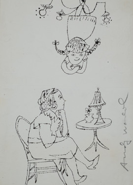 Untitled (Mother and Daughter), 1955-67 ink on paper, signed 11.75 x 7.375 inches