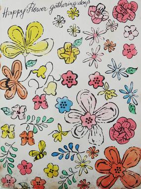 "Print of stylized colorful flowers on a manila folder, inscribed ""Happy Flower Gathering Days"""