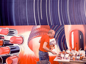 """BOB ADELMAN (1930-2016)  James Rosenquist in his studio, working on the painting, """"Fahrenheit 1982"""", currently in the collection of MOMA  photograph 1981 (printed later)  archival pigment print, AP, signed  paper size > 30 x 20.5 inches"""