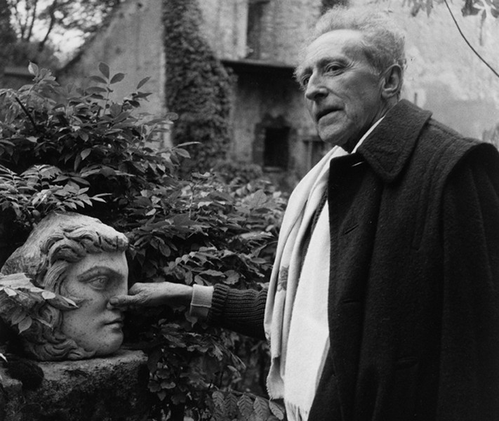 Lucien Clergue [1934-2014] Jean Cocteau in his garden, Milly-la-Forêt photo 1959 [printed 1988] gelatin silver print, edition of 30 PF, signed Paper Size: 11.5 x 15.5 inches   29.2 x 39.4 cm Image Size: 10.25 x 14.5 inches   26.0 x 36.8 cm