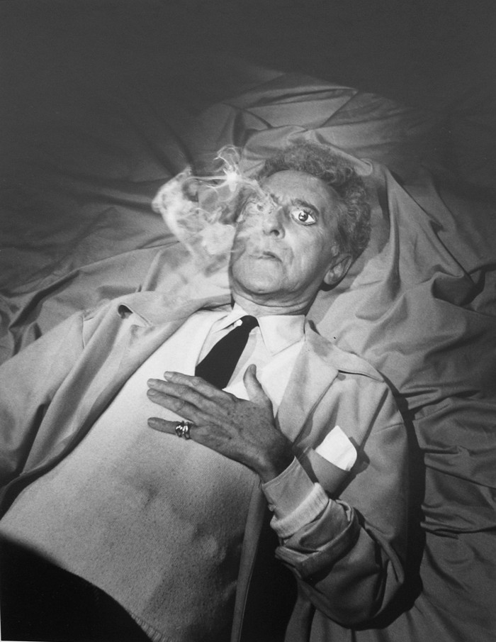 Lucien Clergue [1934-2014] Jean Cocteau in the Testament of Orpheus, Les Baux de Provence photo 1959 [printed 1983] gelatin silver print, edition of 30 PF, signed Paper Size: 15.25 x 11.75 inches   38.7 x 29.8 cm Image Size: 14.75 x 11.25 inches   37.5 x 28.6 cm