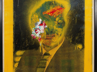 Boris Lurie (1924-2008) Altered Photo (Cabot Lodge), 1963  paint on paper mounted on canvas  29.25 x 23.25 inches
