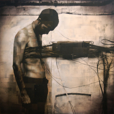 Bryan el Castillo  Wired  oil, mixed media on canvas, 48 x 48 inches