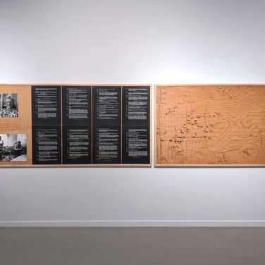 ROGER WELCH Ruth Elliott Memory Map, 1973 ink and wood blocks mounted on wood with photographs and photostat text 48 x 168 inches, diptych