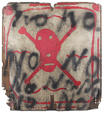Boris Lurie (1924-2008)  NOs with Skull and Crossbones, 1961  paint on plywood  25 x 23.25 inches