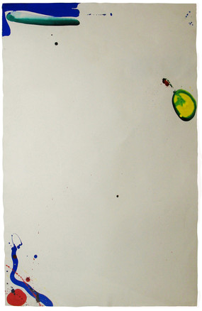 Painting of a white surface with colorful abstract shapes on the sides and corners (yellow, blue, green)