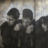 Bryan el Castillo  Untitled [Self Portrait],  oil, mixed media on canvas,  48 x 82 inches