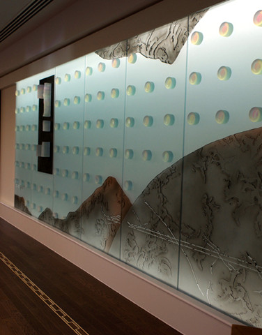 WARREN CARTHER  Canadian Embassy, London, UK  carved sculptural glass wall with 4 inches thick laminated multiple glass elements  Length 16 ft. Height 7 ft.