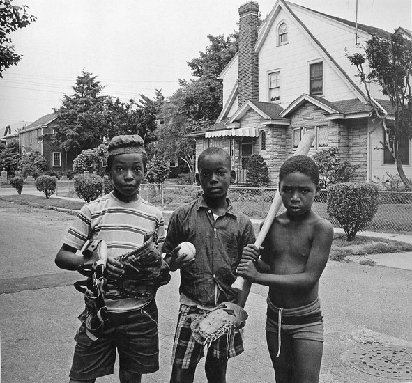 BOB ADELMAN (1930-2016) Play ball, St. Albans neighborhood, Queens, New York City photo c. 1968 [printed later]  gelatin silver print, edition of 15, signed, numbered  Paper Size: 16 x 20 inches | 40.6 x 50.8 cm