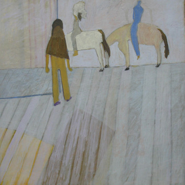 James Juthstrom [1925-2007] Untitled [Rider], circa 1980s acrylic on canvas 42 x 42 inches