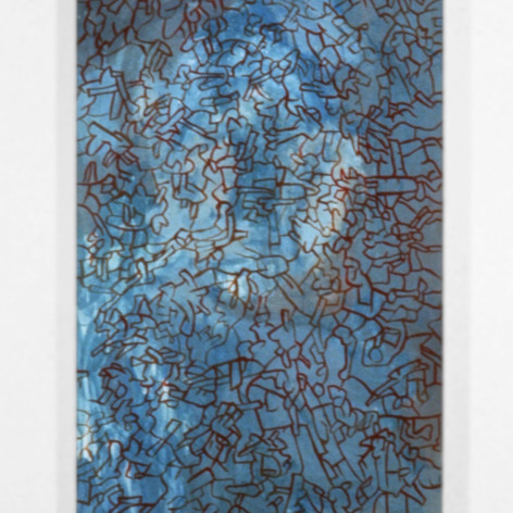 Ron Morosan Back In The Back, 1999 acrylic and oil on wood 84 x 24 inches