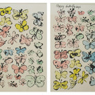 Andy Warhol Happy Butterfly Days circa 1956 offset lithograph on manila folder  authenticated by Andy Warhol Art Authentication Board 13 x 19 inches