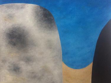 JOHN KOGA  Spirit Mountain – Sky Mountain, 2016  oil on canvas  55 x 63.5 inches