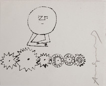 Untitled, circa 1950s ink on paper [blotted ink technique], signed 9 x 7.875  inches