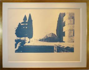 Andy Warhol unique work, dominant color blue, framed in golden frame
