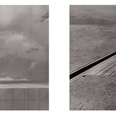 WILL INSLEY (1929-2011) /Buildings/ No. 19-20 Interior Building Corridor of Life Gate – view from the ground and air, 1970-72 vintage photomontage, 12 x 12 inches each