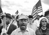 BOB ADELMAN (1931-2016) King and his wife Coretta lead the marchers on Jefferson Davis Highway to Montgomery, Alabama photo 1965 [printed later]  gelatin silver print, edition of 15, signed, numbered  paper size > 16 x 20 inches