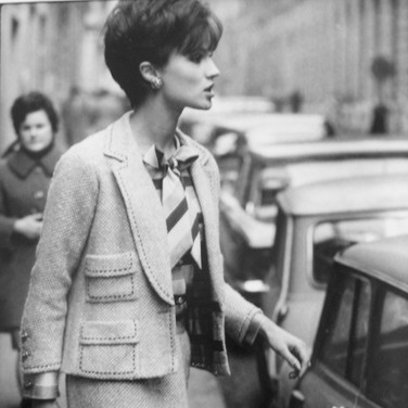 Model wearing Chanel in Paris  photograph circa 1962-1969 (printed later)  gelatin silver print, AP, signed image size > 14.25 x 9.75 inches  Photograph by Hatami (1928-2017)