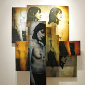 Bryan el Castillo  Fractured Reality  oil, mixed media on canvas,  8 panels overall size: 60 x 55 x 15 inches