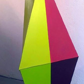 CHARLES HINMAN (b. 1932)  Green, Red, Orange, 2007-08  acrylic on shaped canvas  72 x 36 x 36 inches