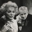 """Roy Schatt [1909-2002]  Eva Gabor and Clarence Derwent in Frank Wedekind's play """"Lulu""""  photograph 1958  vintage gelatin silver print, stamped  size > 13 x 16 inches  © Estate of Roy Schatt"""