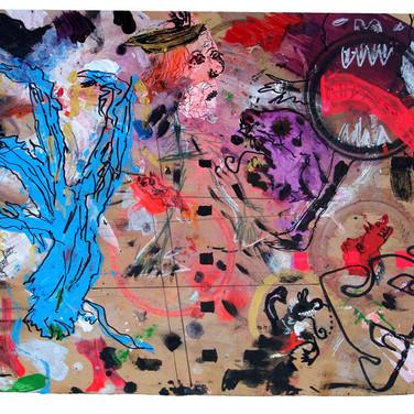 Wulf Treu  Untitled (Blue)  acrylic on board,  12 x 17.5 inches