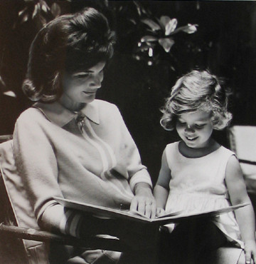 Jacques Lowe (1930-2001)  Jackie Kennedy and Caroline, Hyannis Port, MA  photo summer 1961  vintage gelatin silver print, signed  paper size > 13 ¾ x 11 inches