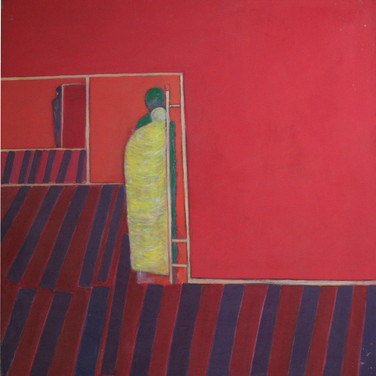 James Juthstrom [1925-2007] Untitled [Red Walls], circa 1980s acrylic on canvas, 52 x 48 inches