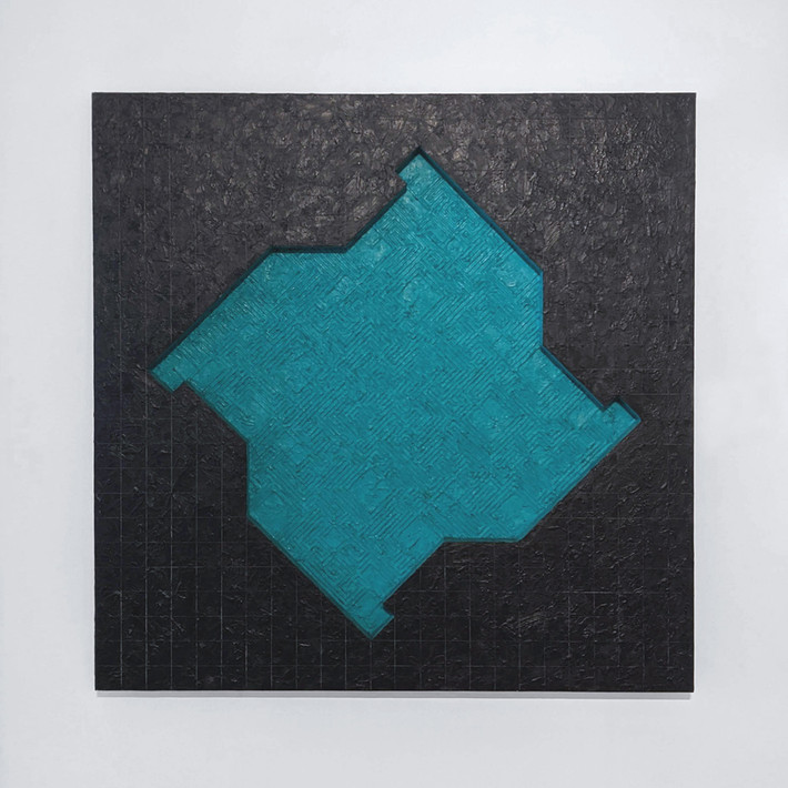 ALAN STEELE Fragment from the Gateless Barrier, 1987 marine enamel, encaustic and wax emulsion on wood  Artwork: 60 x 60 x 4 inches | 152.4 x 152.4 x 10.2 cm Unique, Unframed
