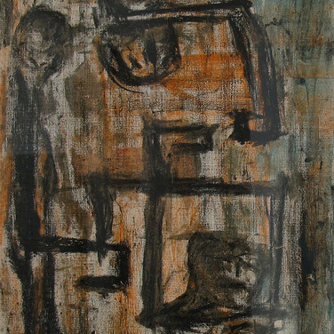 James Juthstrom [1925-2007] Untitled, circa 1950s charcoal, pastel on textured paper 10 x 8 inches