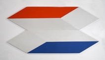 Tridimensional painting of two flattened parallelepiped with a red side and a blue side