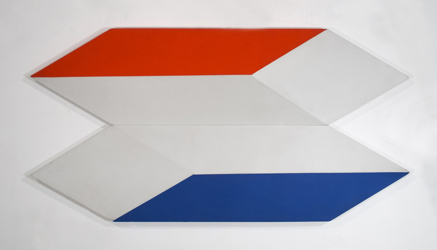 CHARLES HINMAN Docking in Space, 1970 acrylic on shaped canvas Artwork: 29 x 56 x 2 inches | 73.7 x 142.2 x 5.1 cm