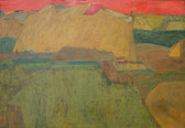 Painting of a landscape with vermillion sky, ochre and sienna hills, and green forest