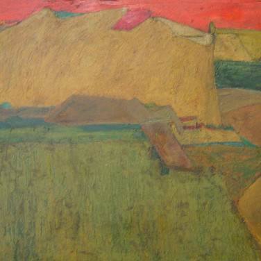 James Juthstrom (1925-2007)  Earth Hill, circa 1950s  oil on masonite, 31 x 46 inches