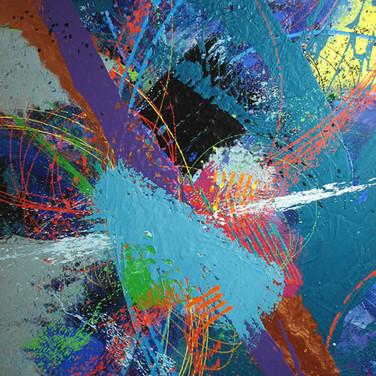 James Hendricks  Aqua Center  acrylic, acrylic gels on canvas,  48 x 38 inches