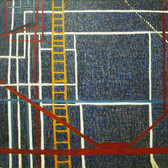 James Juthstrom (1925-2007) Fire Escapes on Broome Street III, circa 1970s oil on canvas 50 x 50 inches, estate stamped