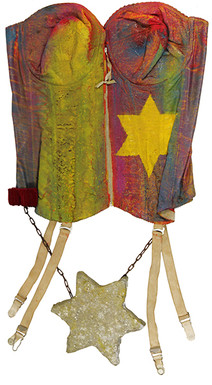 Boris Lurie (1924-2008)  Untitled (Corset with Stars of David), 1982  oil paint on corset with chains and cement  27.5 x 15 inches