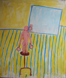 Acrylic on canvas painting of a yellow interior with a character on a sculpture stand, in front of a mirror