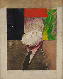 Boris Lurie (1924-2008) Altered Photos (Cabot Lodge), 1963  oil on paper mounted on canvas  46 x 31.5 inches
