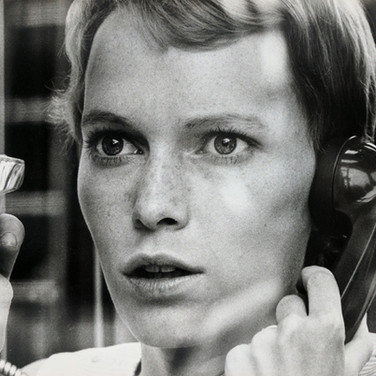 """Mia Farrow practicing a tense scene, on the set of """"Rosemary's Baby"""" photograph 1968 vintage gelatin silver print, signed, stamped 8 x 10 inches Photograph by Hatami (1928-2017)"""