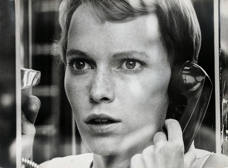 """Mia Farrow practicing a tense scene on the set of """"Rosemary's Baby,"""" 1968 New York City vintage gelatin silver print, signed, stamped Image Size: 8 x 10 inches   20.3 x 25.4 cm  Photograph by Hatami (1928-2017)"""