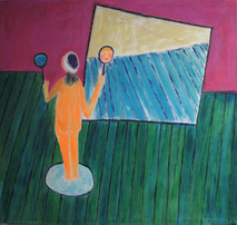 Acrylic on canvas painting of an orange character in a lit circle, in front of a mirror reflecting the space